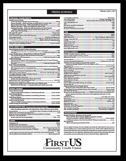 screen shot of pricing schedule pdf
