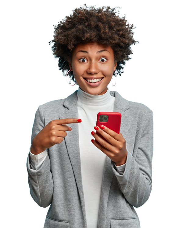 Woman pointing at her cell phone